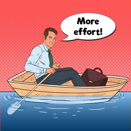 Pop art heureux homme d & # 39 ; affaires flottant dans le parc. été . illustration vectorielle Banque d'images - 85709568