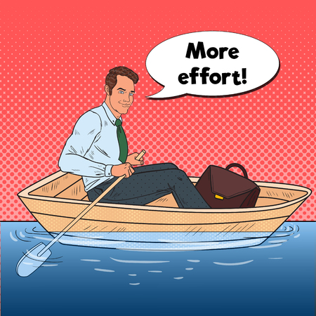 Pop Art Happy Businessman Floating in the Boat. Summer Vacation. Vector illustration
