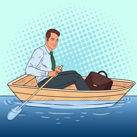Homme d'affaires de Pop Art flottant dans le bateau. Échapper du travail à des vacances. Illustration vectorielle Banque d'images - 85709569