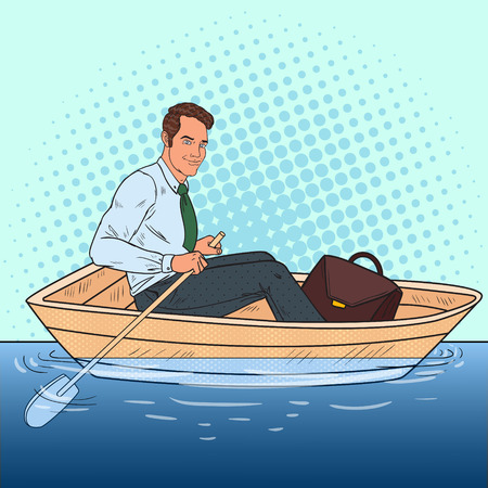 Pop Art Businessman Floating in the Boat. Escape from Work to Vacation. Vector illustration