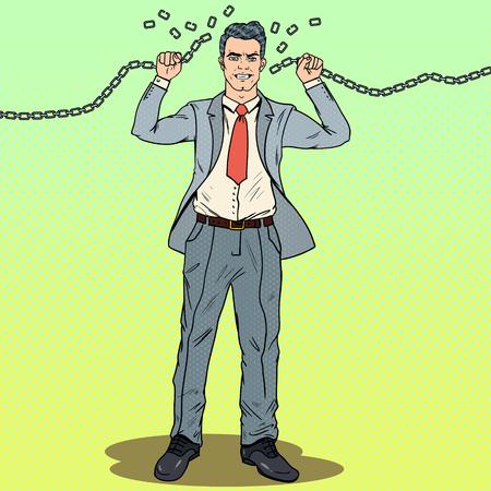 Pop-Art-starker Geschäftsmann bricht die Ketten. Entkomme der harten Arbeit. Vektor-Illustration Standard-Bild - 85709570