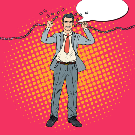 Homme d'affaires fort Homme d'affaires brise les chaînes. Libérer du travail dur. Illustration vectorielle Banque d'images - 85709571