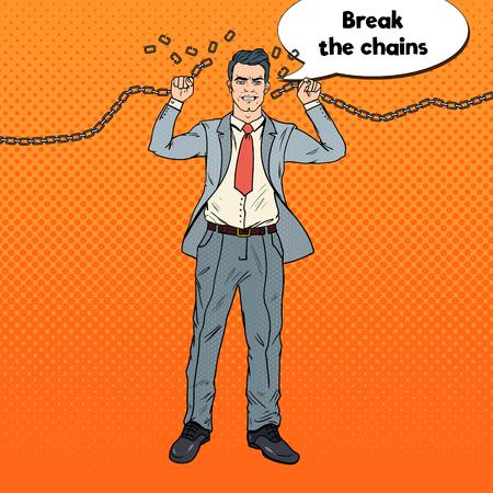 Pop Art Starker Geschäftsmann bricht die Ketten. Befreien Sie sich von harter Arbeit. Vektor-illustration Standard-Bild - 85709572
