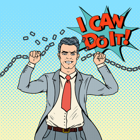 Pop Art Businessman Breaks the Chains. Release from Hard Work. Vector illustration Stock fotó - 85709826