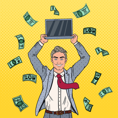 Pop Art Happy Businessman with Laptop and Falling Down Money. Business Success. Vector illustration Illustration