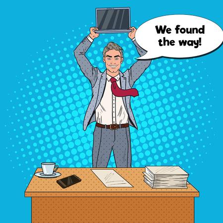 オフィスのテーブルに立って、彼の頭の上にラップトップを保持ポップアートハッピービジネスマン。ベクターイラスト