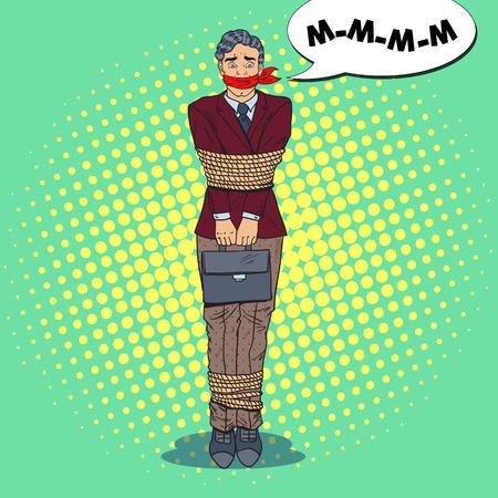 Pop-Art-frustrierter Geschäftsmann gefesselt mit Seil. Geschäftsprobleme. Vektor-Illustration Standard-Bild - 85709831
