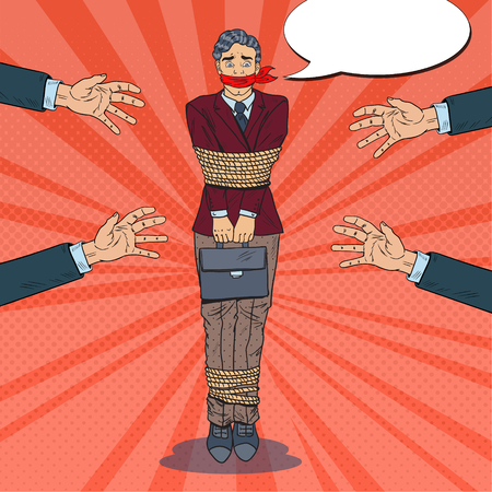 ポップアート欲求不満のビジネスマンがロープで縛ら。ビジネス上の問題の手。ベクターイラスト