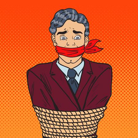 Popart benadrukt zakenman vastgebonden met touw. Zakelijke problemen. Vector illustratie