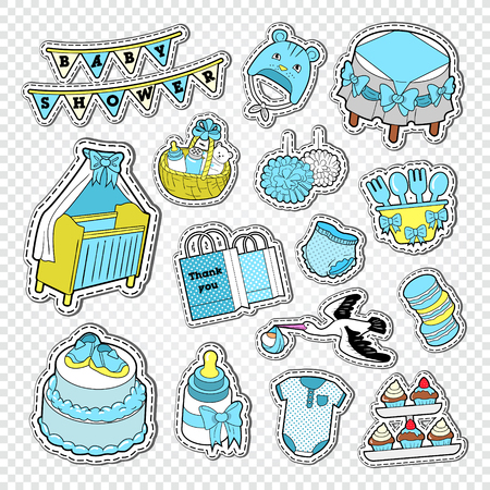Baby Shower Boy Decoration Elements. Child Birth Decoration Stickers Elements. Vector illustration 向量圖像