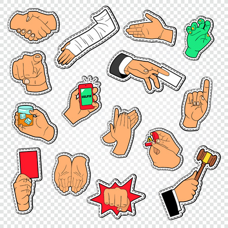 Male Hands Signs Stickers. Man Arm Gesturing. Handshaking, Fist, Applause. Vector illustration