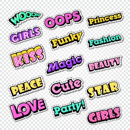 Textile Trendy Fashion Quotes. Badges with Texts for Embroidery. Vector illustration 向量圖像