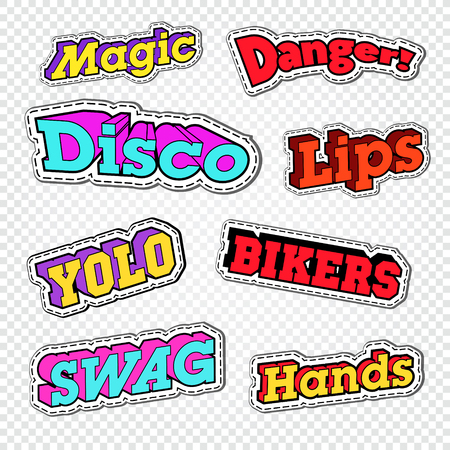 Textile Trendy Fashion Quotes. Badges with Texts for Embroidery. Vector illustration Illustration
