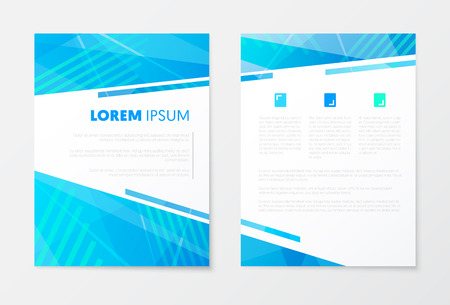 Blue Annual Report Business Brochure, Booklet, Leaflet Cover Flyer Template. Corporate Design. Abstract Poster. Vector illustration