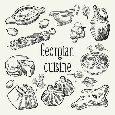 グルジア料理手描き。団子とヒンカリ ジョージア州の伝統的な料理。ベクトル図
