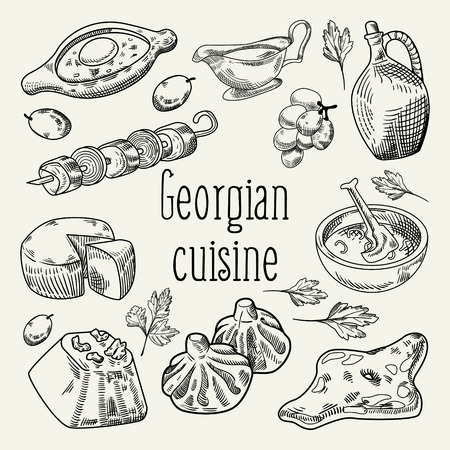 Georgian Food Hand Drawn. Georgia Traditional Cuisine with Dumpling and Khinkali. Vector illustration Иллюстрация