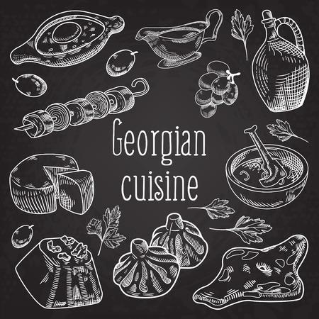 黒板にグルジアの食物を描いたジョージアの伝統的な料理と餃子とキンカリ。ベクターイラスト