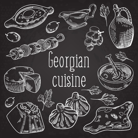 Hand getekend Georgische gerechten op schoolbord. Georgia Traditional Cuisine with Dumpling and Khinkali. Vector illustratie Stock Illustratie