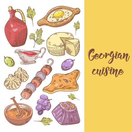 Hand Drawn Georgian Food Menu Cover. Georgia Traditional Cuisine with Dumpling and Khinkali. Vector illustration Illustration