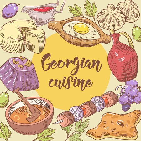 Hand Drawn Georgian Food Design. Georgia Traditional Cuisine with Dumpling and Khinkali. Vector illustration