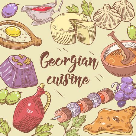 손으로 그린 그루지야 음식 배경입니다. 그루지야 전통 요리 만 두 및 Khinkali 함께. 벡터 일러스트 레이 션
