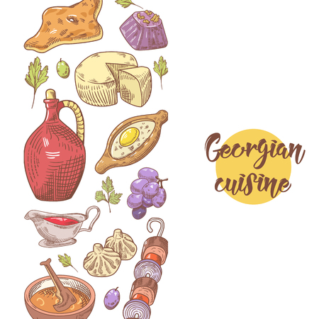 Hand Drawn Georgian Food Menu. Georgia Traditional Cuisine with Dumpling and Khinkali. Vector illustration