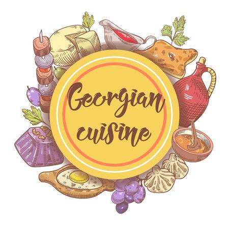 Hand Drawn Georgian Food Menu. Georgia Traditional Cuisine with Dumpling and Khinkali. Vector illustration