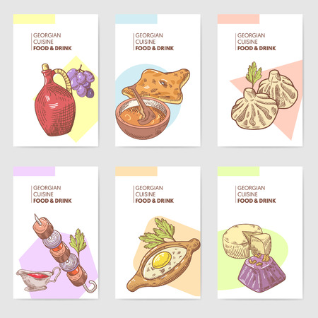 Hand Drawn Georgian Food Brochure Template. Georgia Traditional Cuisine with Dumpling and Khinkali. Vector illustration
