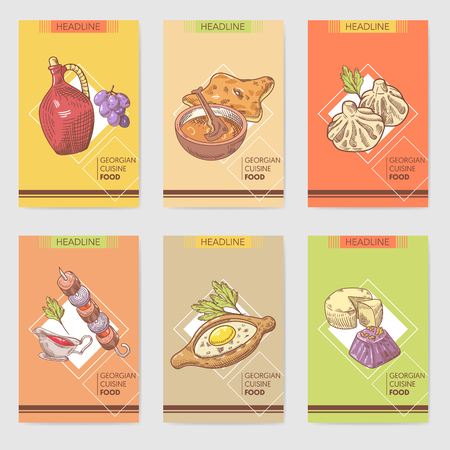 손으로 그린 그루지야 음식 브로셔 템플릿입니다. 그루지야 전통 요리 만 두 및 Khinkali 함께. 벡터 일러스트 레이 션