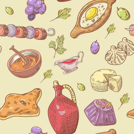 손으로 그린 그루지야 음식 원활한 패턴입니다. 조지아 전통 요리 배경 만 두 및 Khinkali 함께입니다. 벡터 일러스트 레이 션