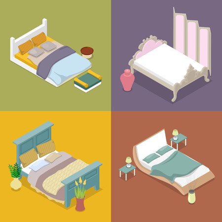 Isometric Double King Size Bed Set. Bedroom Furniture Design. Vector flat 3d illustration Illustration