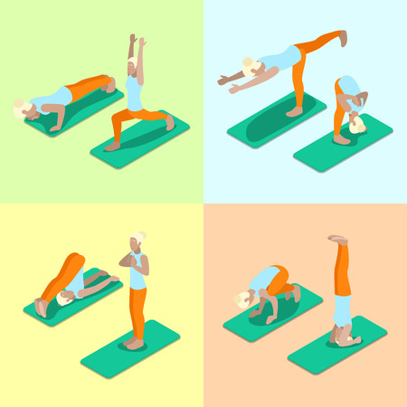Isometric Woman Yoga Poses Exercise Gym Workout. Healthy Life Style. Vector flat 3d illustration Illustration