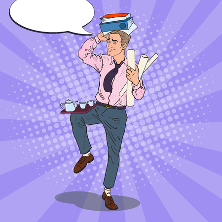 Pop Art Overloaded Businessman with Pile of Documents. Stress at Office Work. Vector illustration