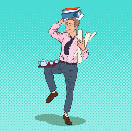 Pop Art Busy Business Man with Pile of Documents. Stress at Office Work. Vector illustration Illustration