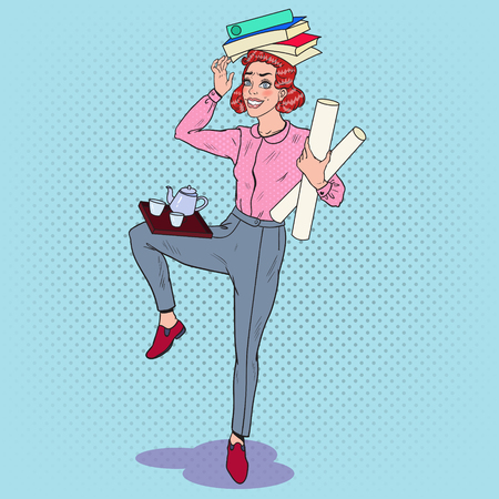 Pop Art Multitasking Business Woman at Work. Overload Office Secretary with Pile of Papers. Vector illustration