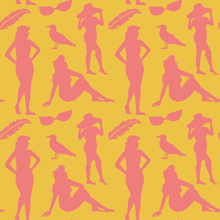 Retro Woman in Swimsuit Seamless Pattern. Fashion Model Beach Vacation Summer Background. Pop Art Faceless Girl. Vector illustration