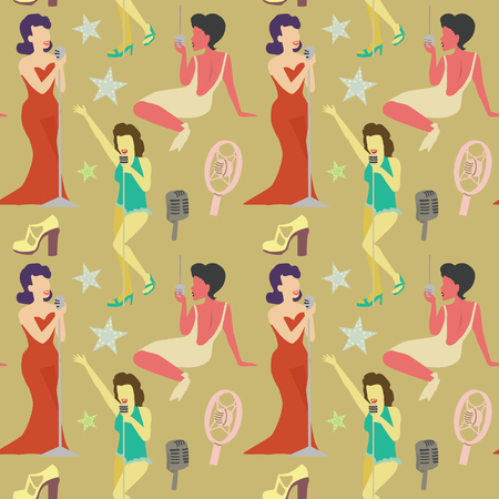 Retro Woman Singing on Microphone Seamless Pattern. Vintage Fashion Model. Pop Art Girl. Vector illustration