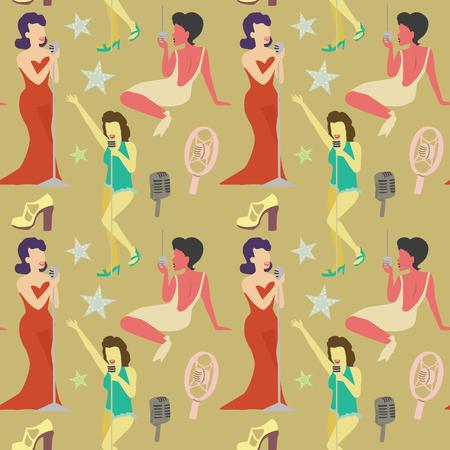 Retro Frau singt auf Mikrofon Nahtlose Muster. Weinlese-Mode-Modell. Pop-Art-Mädchen. Vektor-Illustration Standard-Bild - 85936027