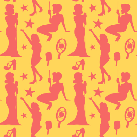 Retro Woman Singing on Microphone Seamless Pattern. Vintage Fashion Model Background. Pop Art Girl. Vector illustration