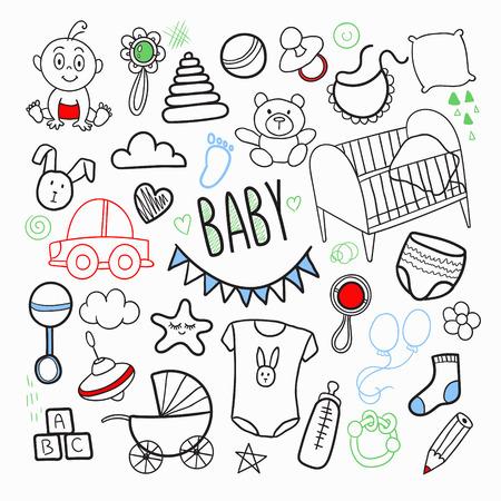 Neugeborene gezeichnetes gezeichnetes Gekritzel der Karikatur mit Spielwaren Standard-Bild - 86537633