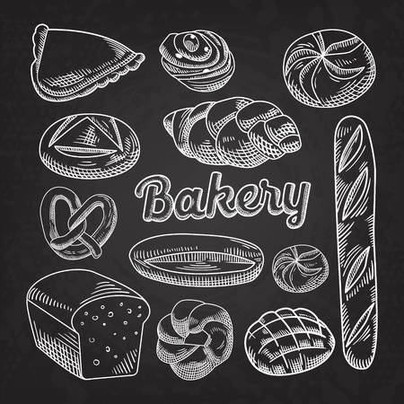 Bread Bakery Food Hand Drawn Doodle Blackboard
