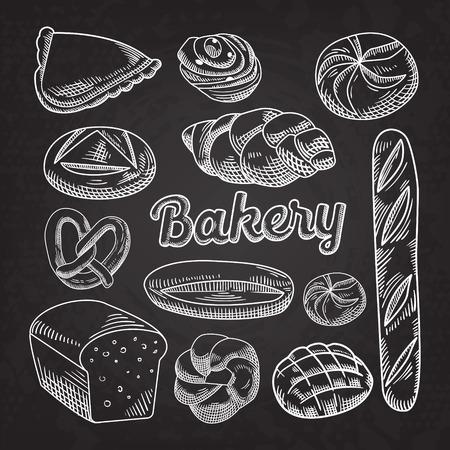 Bread Bakery Food Hand getrokken Doodle Blackboard Stock Illustratie