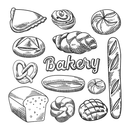 Bread Bakery Food Hand Drawn Doodle Ilustrace