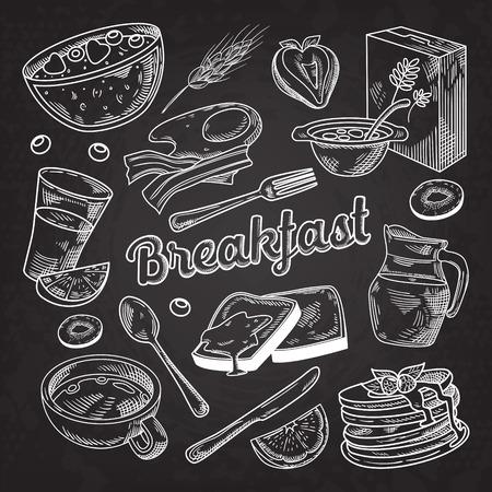 Healthy Breakfast Hand Drawn Doodle Blackboard
