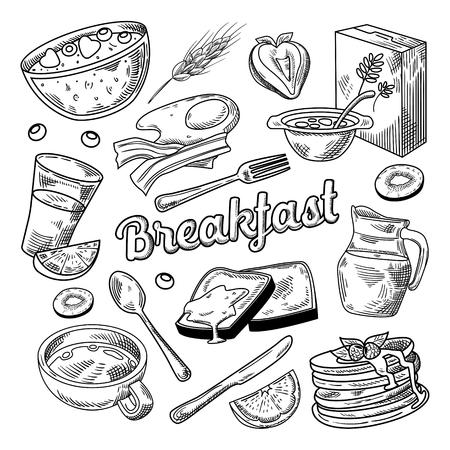 Zdrowe śniadanie ręcznie rysowane Doodle