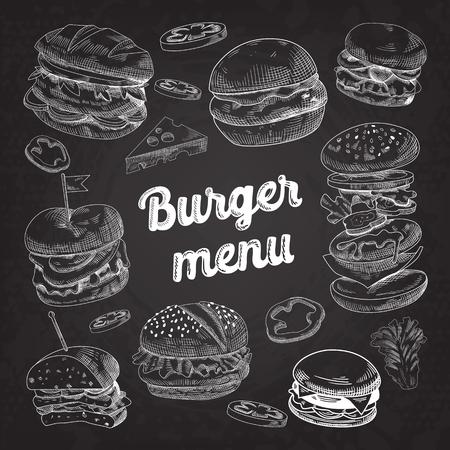 黒板に描かれたハンバーガーを手します。  イラスト・ベクター素材