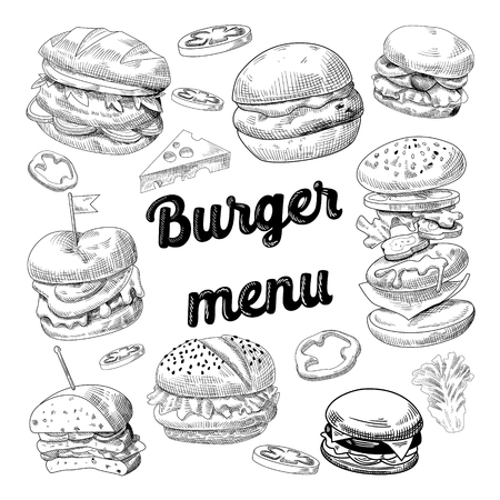 手描きのハンバーガー