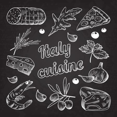 Italiana mano de la comida dibujada Foto de archivo - 86537646