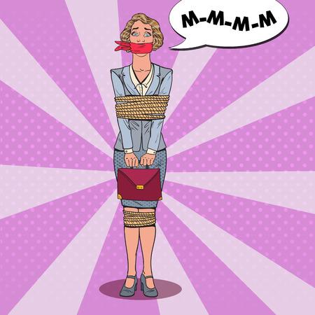 팝 아트 스트레스 비즈니스 여성 묶여