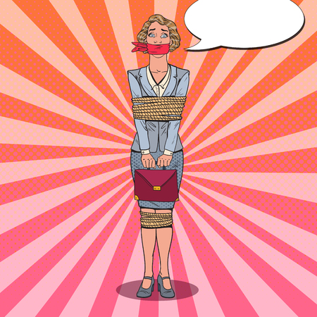 Pop Art gefrustreerde vrouw vastgebonden met touw